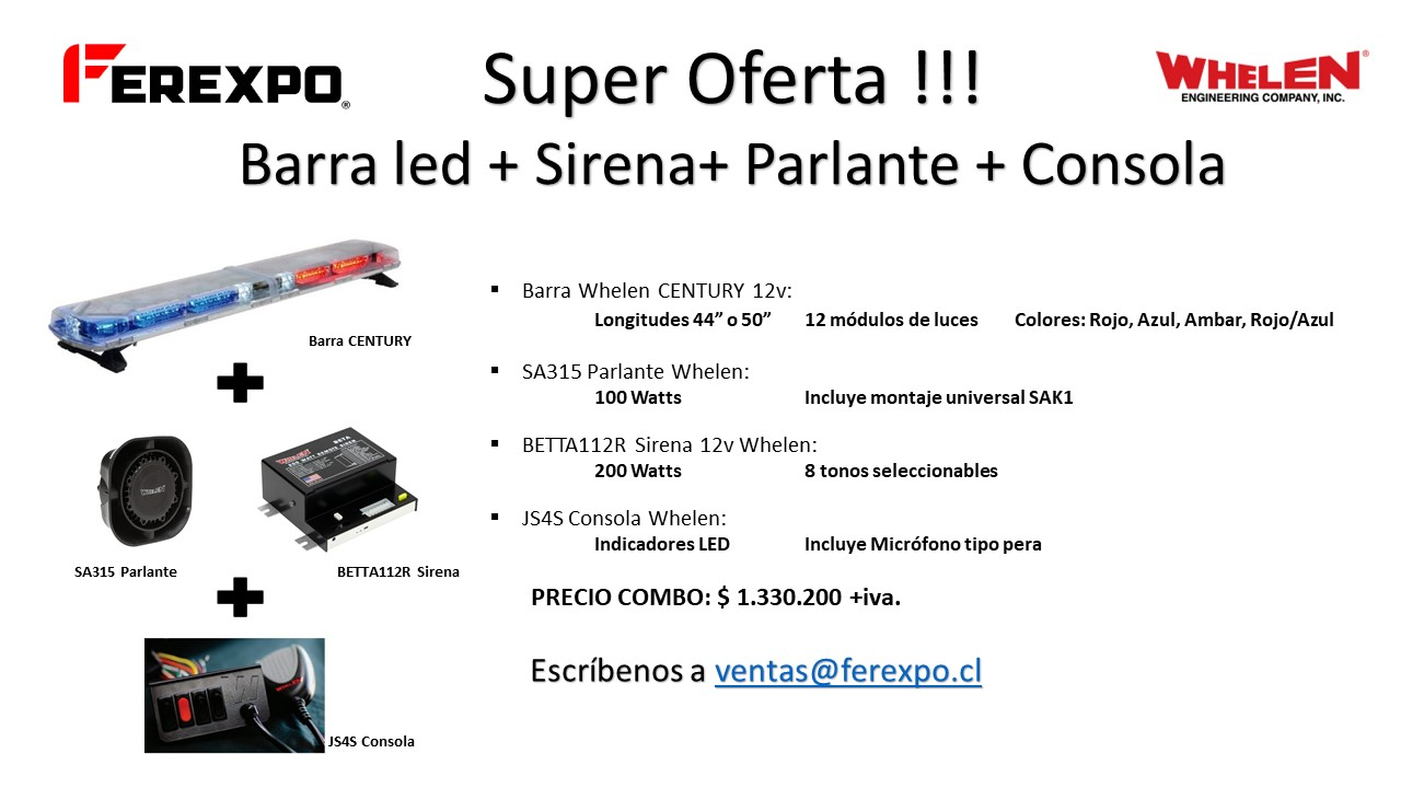 Oferta Combo Whelen Century + Parlante + Sirena + Consola y Micrófono